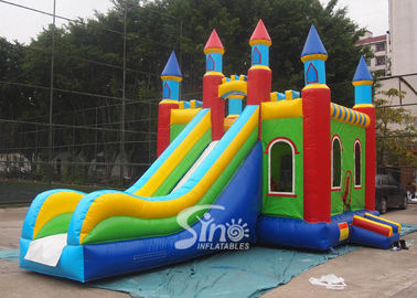 Lead Free PVC Tarpaulin Inflatable Bouncy Castles , Rainbow Castle Slide Inflatable Combo