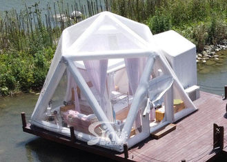 Starry Night Airtight Polygon Camping Tent Inflatable Bubble Hotel Dispense With Permanent Electricity Blower
